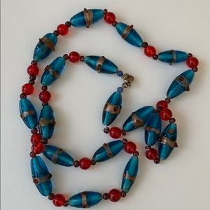Blue and Red Art glass beaded necklace